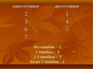 без ошибок – 5 1 ошибка – 4 2-3 ошибки – 3 более 3 ошибок - 2 односоставныед