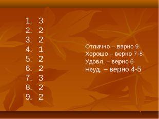3 2 2 1 2 2 3 2 2 Отлично – верно 9 Хорошо – верно 7-8 Удовл. – верно 6 Неуд