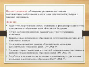 Цель исследования :обоснование реализации потенциала дополнительного образова
