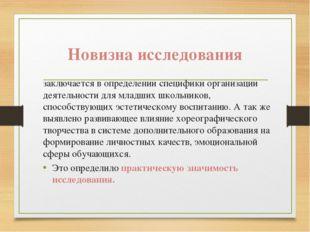Новизна исследования заключается в определении специфики организации деятельн
