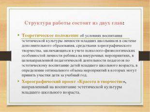 Структура работы состоит из двух глав: Теоретическое положение об условиях во
