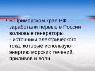 В ПриморскомкраеРФ заработали первые в России волновые генераторы -источни