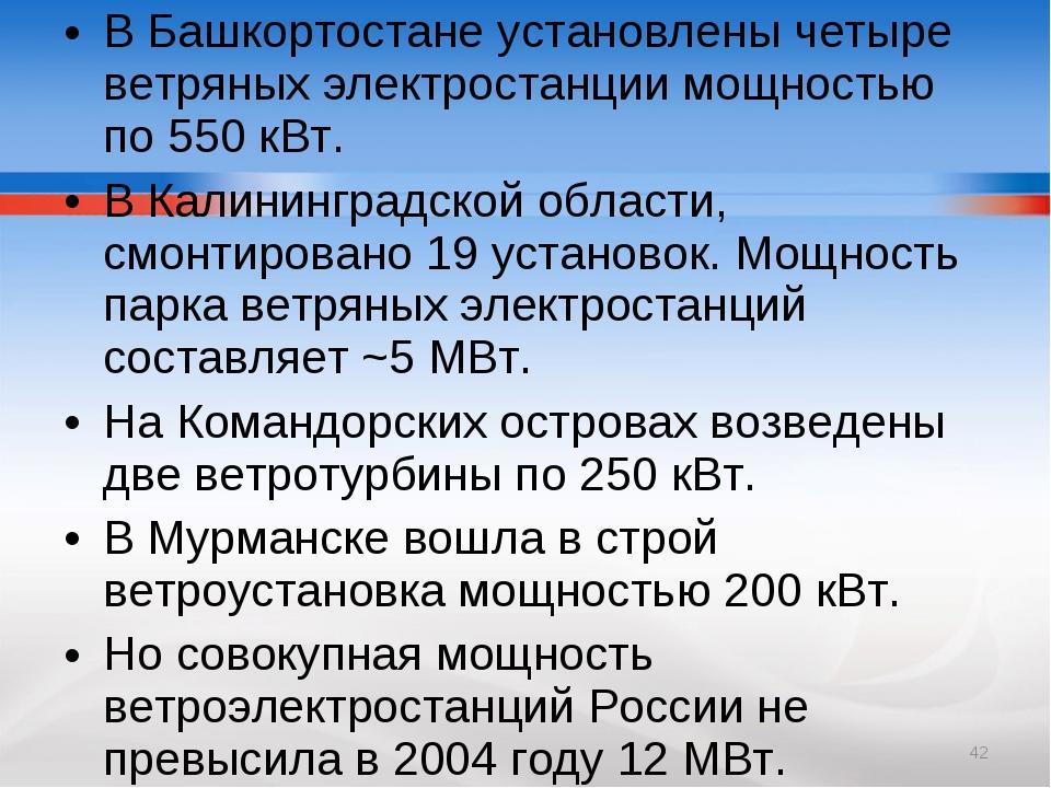В Башкортостане установлены четыре ветряных электростанции мощностью по 550 к...
