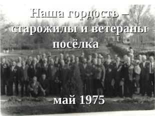 Наша гордость – старожилы посёлка Наша гордость – старожилы и ветераны посёлк