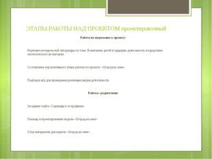 ЭТАПЫ РАБОТЫ НАД ПРОЕКТОМ проектировочный Работа по подготовке к проекту: Изу