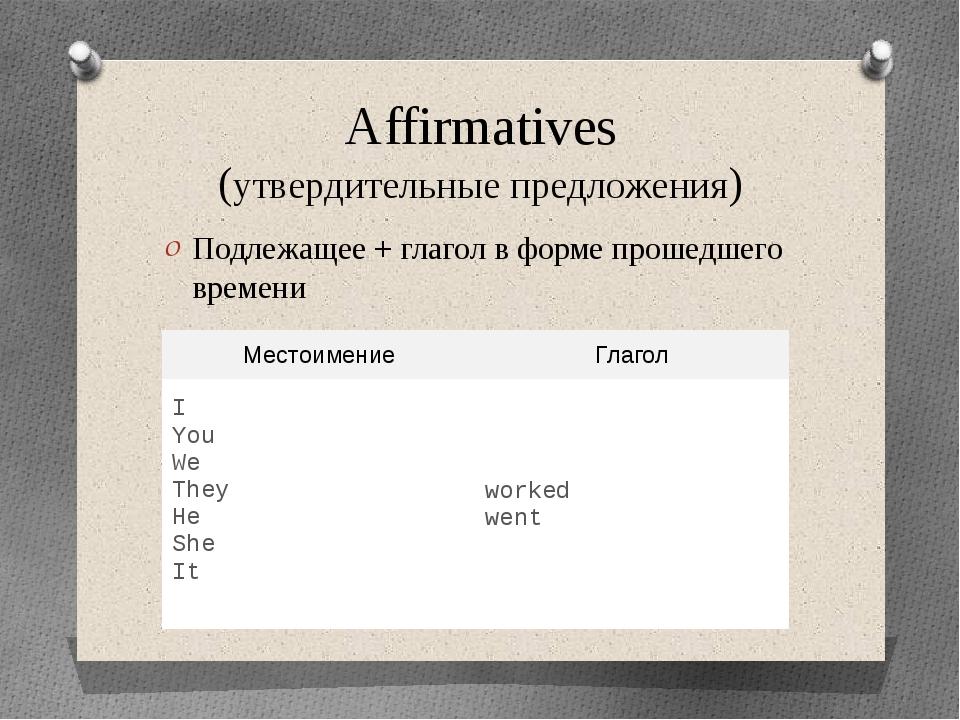 Affirmatives (утвердительные предложения) Подлежащее + глагол в форме прошедш...