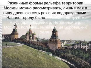 Различные формы рельефа территории Москвы можно рассматривать, лишь имея в ви