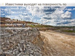 Известняки выходят на поверхность по долинам рек Москвы, Пахры близ Подольска