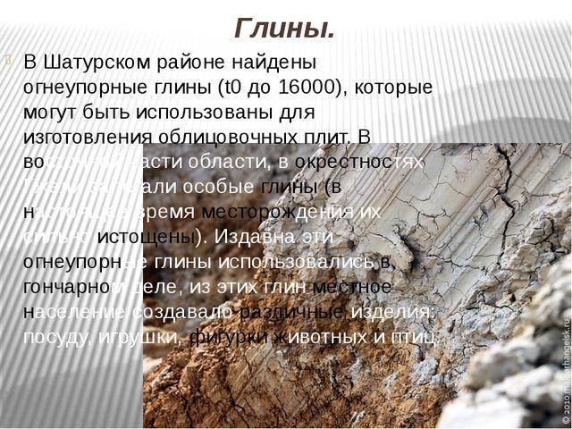 Глины. В Шатурском районе найдены огнеупорные глины (t0 до 16000), которые мо...