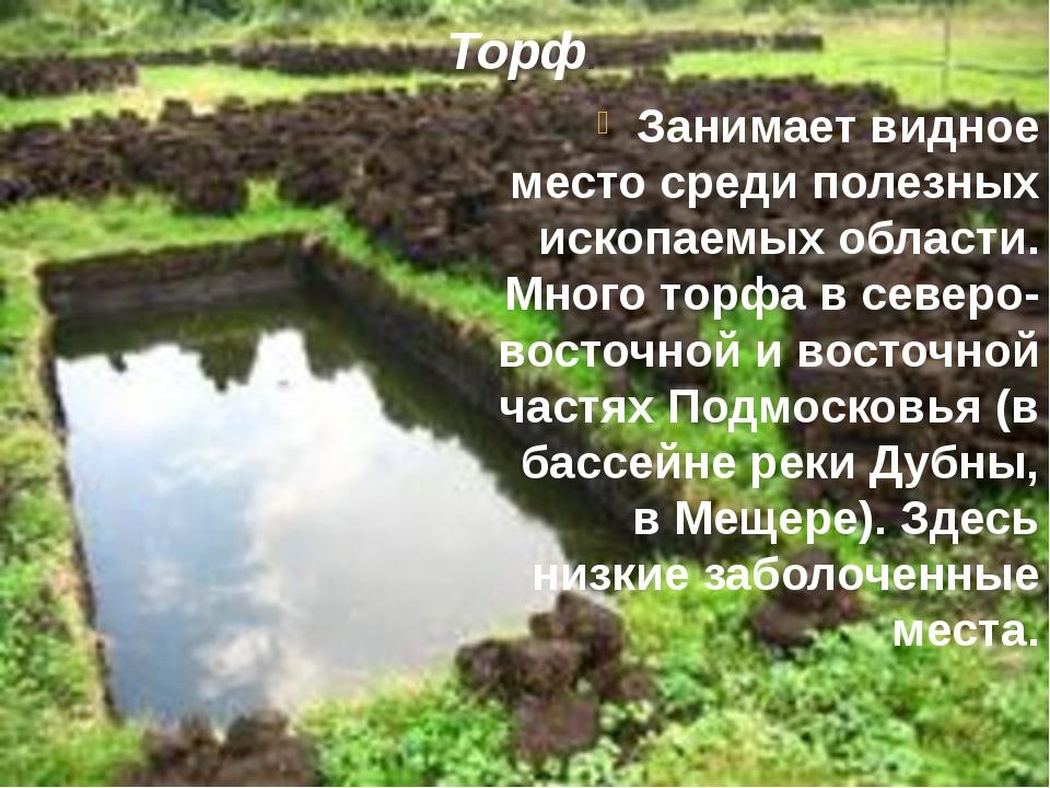 Торф. Занимает видное место среди полезных ископаемых области. Много торфа в...