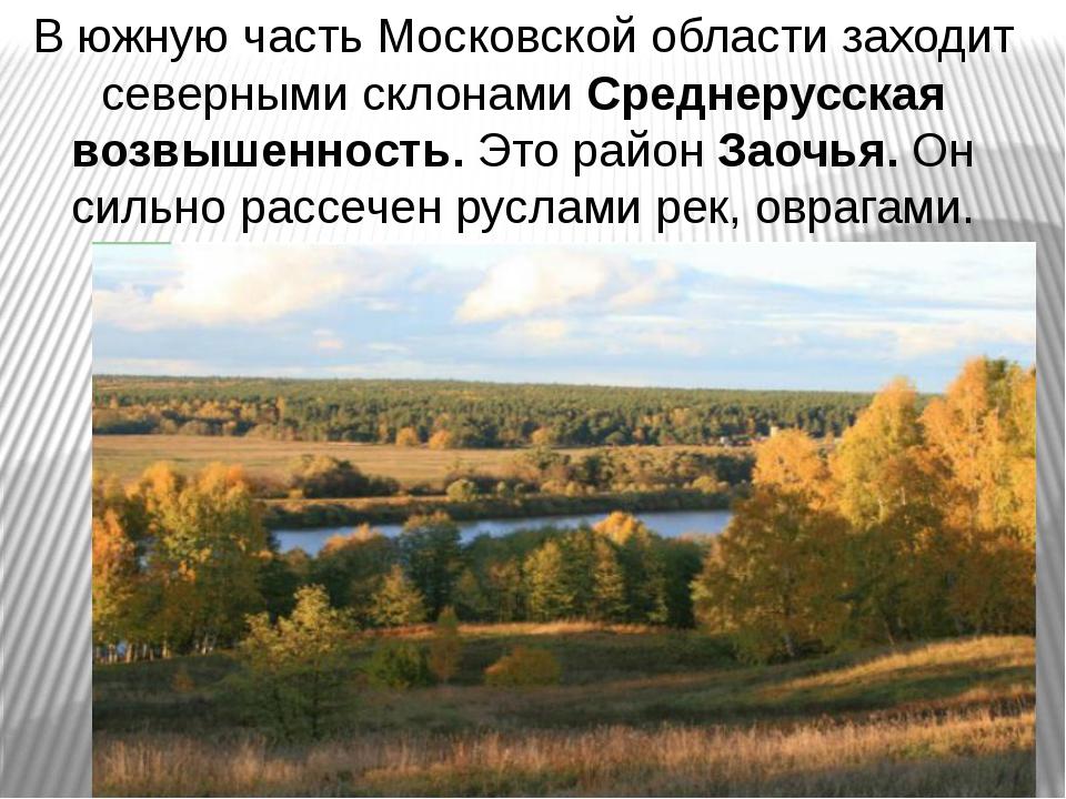 В южную часть Московской области заходит северными склонами Среднерусская воз...