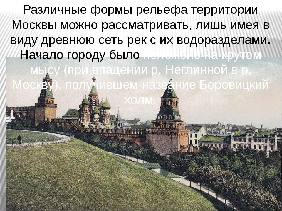 Различные формы рельефа территории Москвы можно рассматривать, лишь имея в ви...