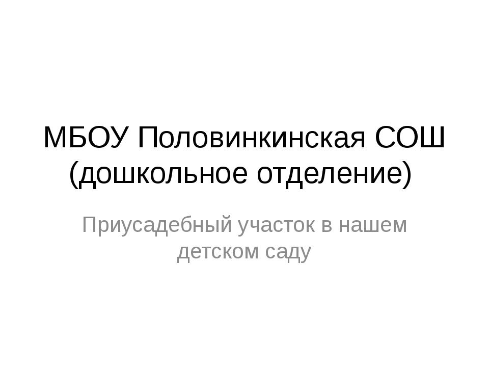 МБОУ Половинкинская СОШ (дошкольное отделение) Приусадебный участок в нашем д...