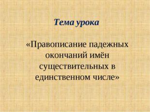 Тема урока «Правописание падежных окончаний имён существительных в единственн