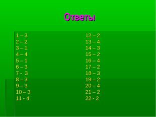Ответы 1 – 3 2 – 2 3 – 1 4 – 4 5 – 1 6 – 3 7 - 3 8 – 3 9 – 3 10 – 3 11 - 4 12