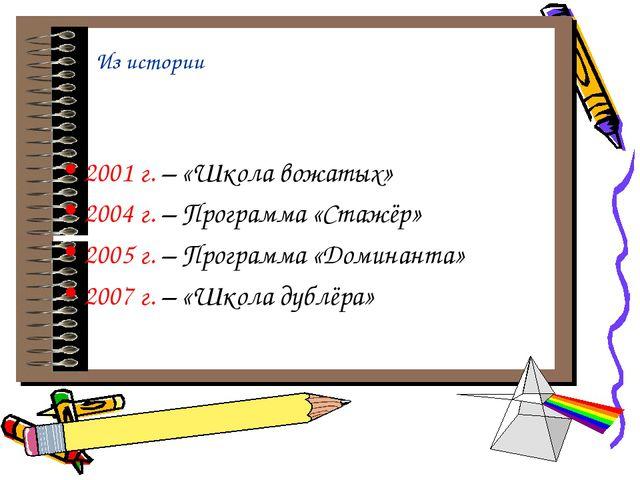 Из истории 2001 г. – «Школа вожатых» 2004 г. – Программа «Стажёр» 2005 г. – П...