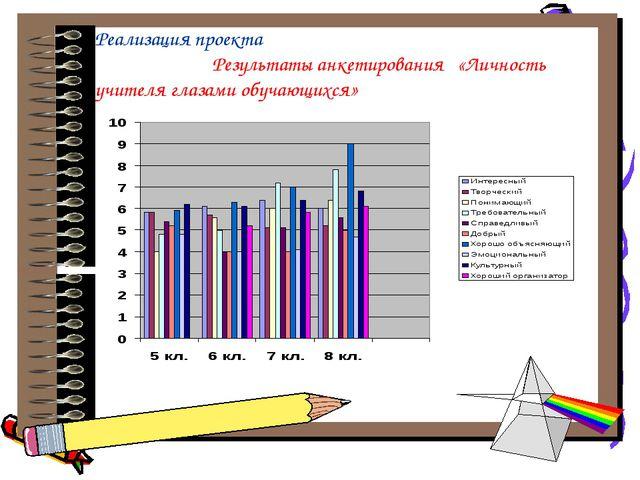 Реализация проекта Результаты анкетирования «Личность учителя глазами обучаю...