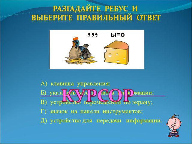 А) клавиша управления; Б) указатель места ввода информации; В) устройство пер...
