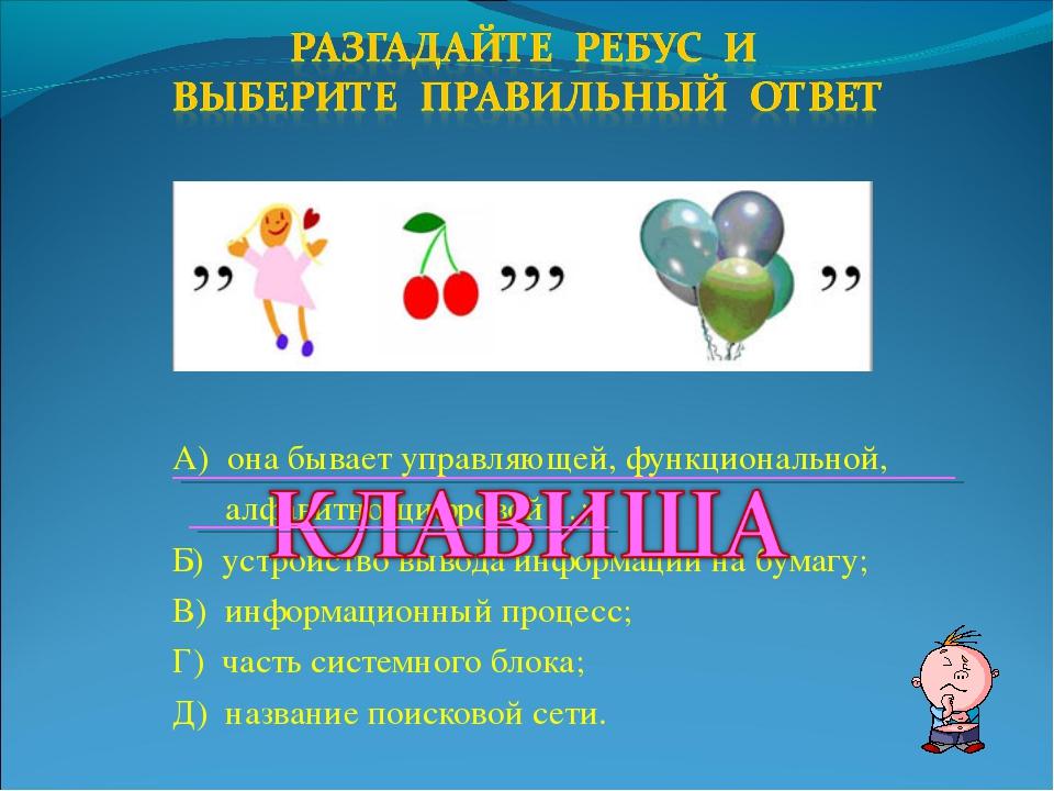 А) она бывает управляющей, функциональной, алфавитно-цифровой…; Б) устройство...