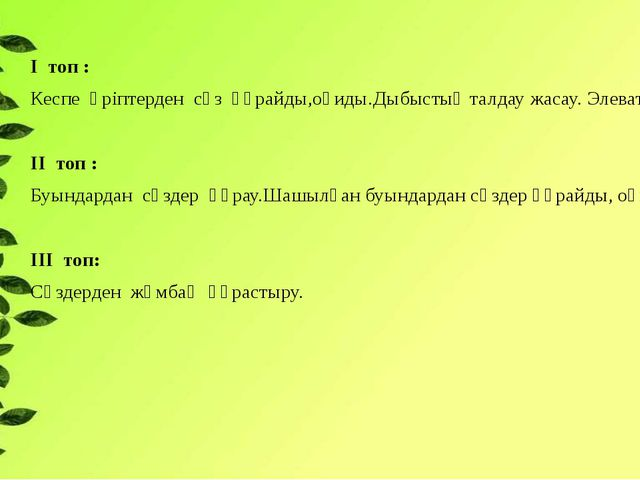 І топ : Кеспе әріптерден сөз құрайды,оқиды.Дыбыстық талдау жасау. Элеватор. І...