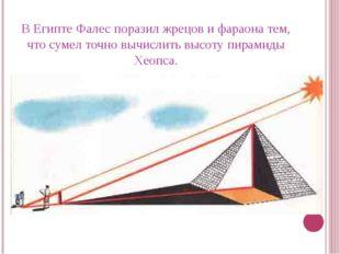 В Египте Фалес поразил жрецов и фараона тем, что сумел точно вычислить высоту