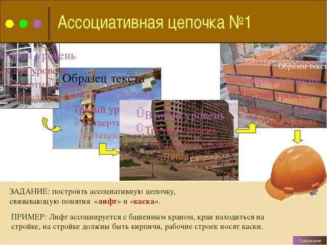 ЗАДАНИЕ: построить ассоциативную цепочку, связывающую понятия «лифт» и «каск...