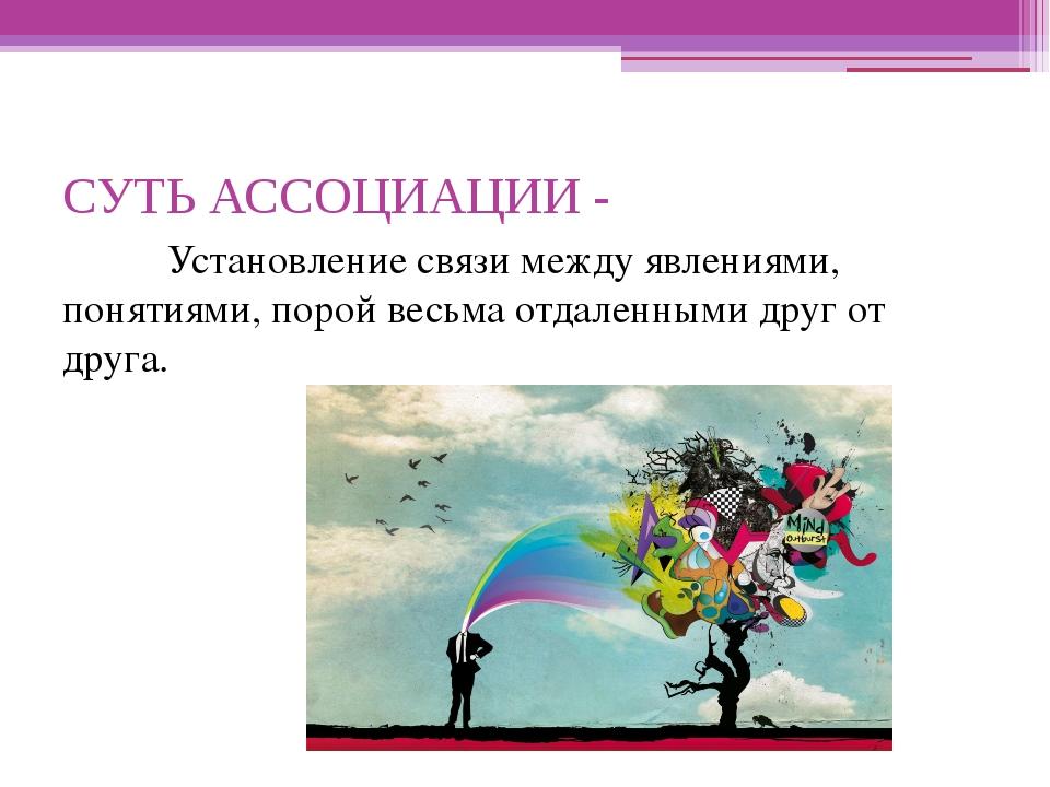 СУТЬ АССОЦИАЦИИ - Установление связи между явлениями, понятиями, порой весь...