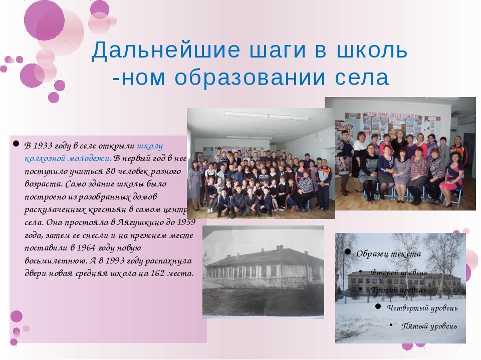 В 1933 году в селе открыли школу колхозной молодежи. В первый год в нее посту...