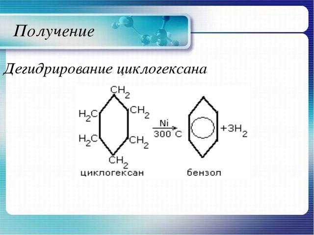 Получение Дегидрирование циклогексана