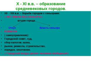 X - XI в.в. – образование средневековых городов. XII - XIII в.в. – борьба гор