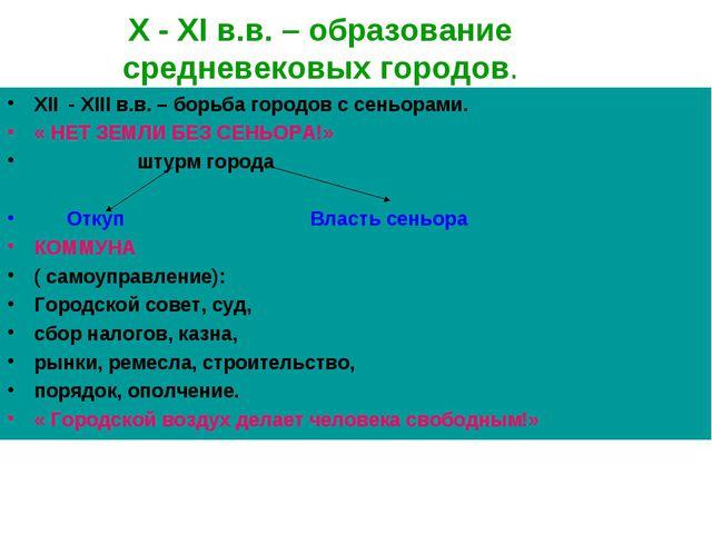 X - XI в.в. – образование средневековых городов. XII - XIII в.в. – борьба гор...