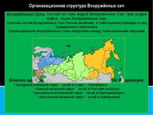 Вооружённые Силы состоят из трех видов Вооруженных Сил, трех родов войск, Тыл
