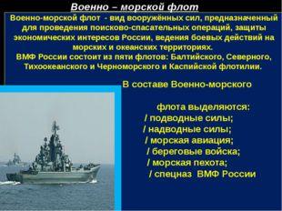 Военно-морской флот - вид вооружённых сил, предназначенный для проведения по