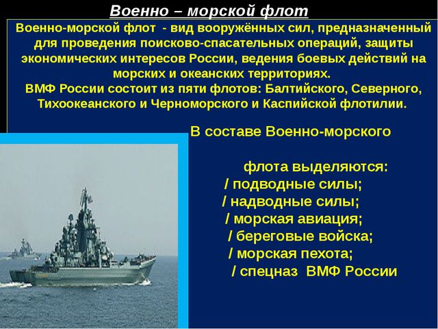 Военно-морской флот - вид вооружённых сил, предназначенный для проведения по...