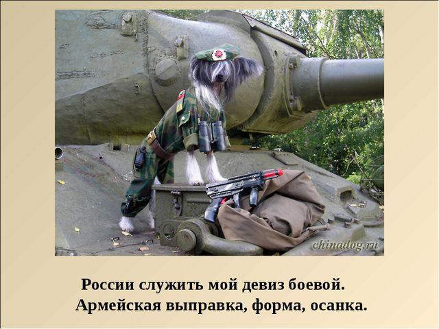 России служить мой девиз боевой. Армейская выправка, форма, осанка.