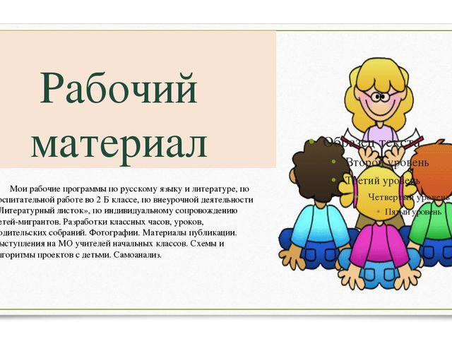 Рабочий материал Мои рабочие программы по русскому языку и литературе, по во...