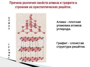 Алмаз - плотная упаковка атомов углерода. Графит - слоистая структура решётки