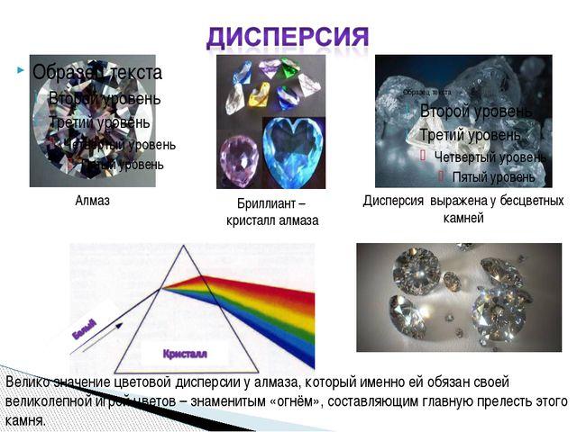 Бриллиант – кристалл алмаза Алмаз Дисперсия выражена у бесцветных камней Вели...