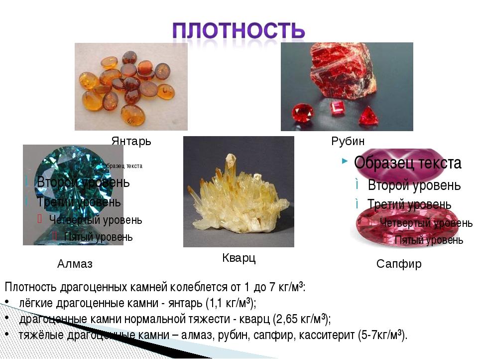 Плотность драгоценных камней колеблется от 1 до 7 кг/м³: лёгкие драгоценные к...