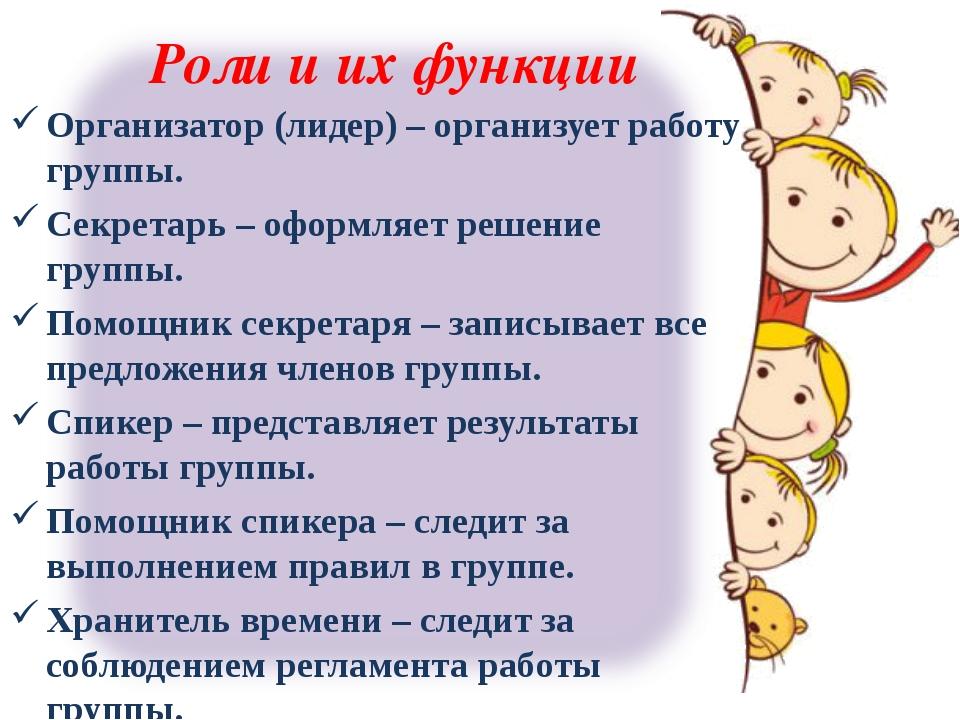 Роли и их функции Организатор (лидер) – организует работу группы. Секретарь –...