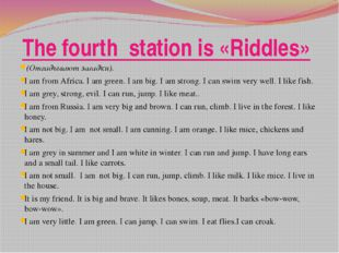 The fourth station is «Riddles» (Отгадывают загадки). I am from Africa. I a