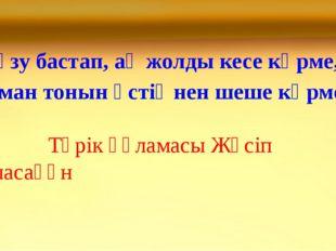 «Түзу бастап, ақ жолды кесе көрме, Иман тонын үстіңнен шеше көрме» Түрік ғүла