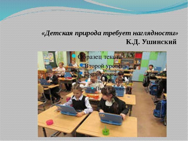 «Детская природа требует наглядности» К.Д. Ушинский