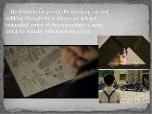He befriends Shmuel (Jack Scanlon), a boy his own age and returns frequently