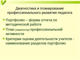 Диагностика и планирование профессионального развития педагога Портфолио – ф