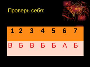 Проверь себя: 1 2 3 4 5 6 7 В Б В Б Б А Б
