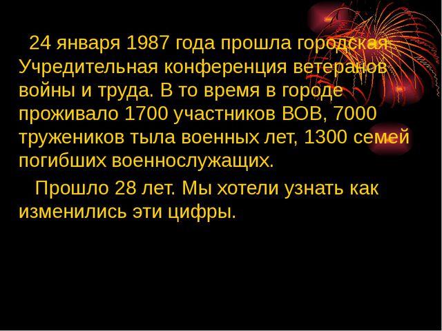 24 января 1987 года прошла городская Учредительная конференция ветеранов вой...