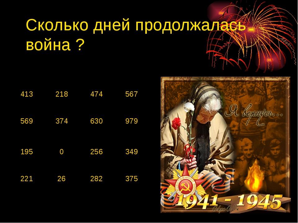 Сколько дней продолжалась война ? 413 218 474 567 569 374 630 979 195 0 256 3...