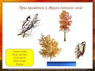 Голоса птиц Шум листвы Стук дятла Шум ветра Дождь Прислушайтесь к звукам осен
