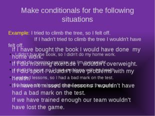 Make conditionals for the following situations I didn't buy the book, so I di